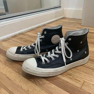 Men's Black Leather Converse Chuck 70s, Size 10